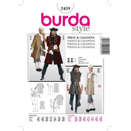 Patron Burda 2459 Historique Pirate Casanova 46/58