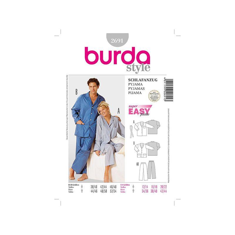 Patron Burda 2691 Style Pyjama 38/48 44/54