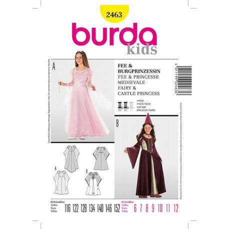 Patron Burda Historique 2463 Fée Princesse Médiéval 116/152