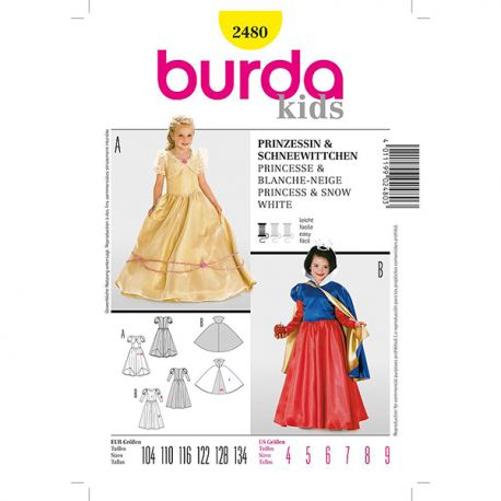 Patron Burda Historique 2480 Princesse Blanche Neige 104/134