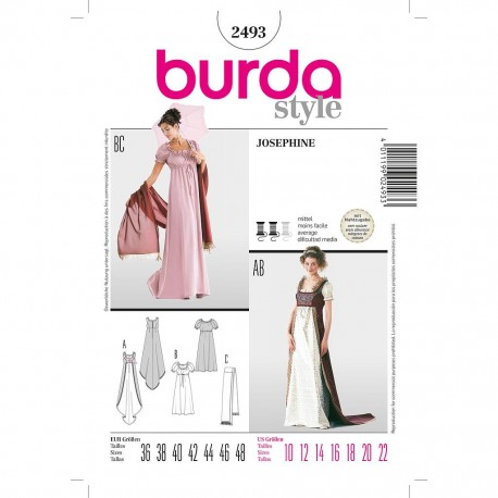 Patron Burda Historique 2493 Robe 36/48