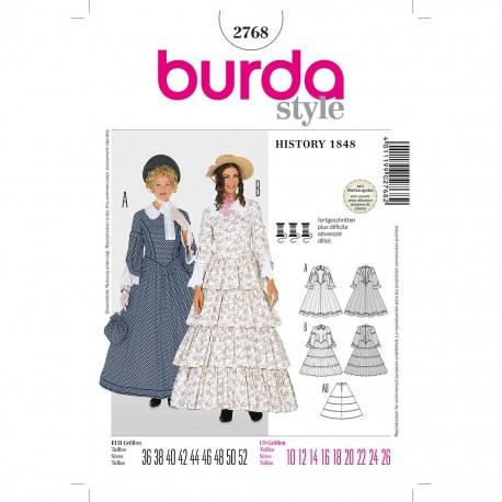 Patron Burda Historique 2768 Robe Année 1848 36/52