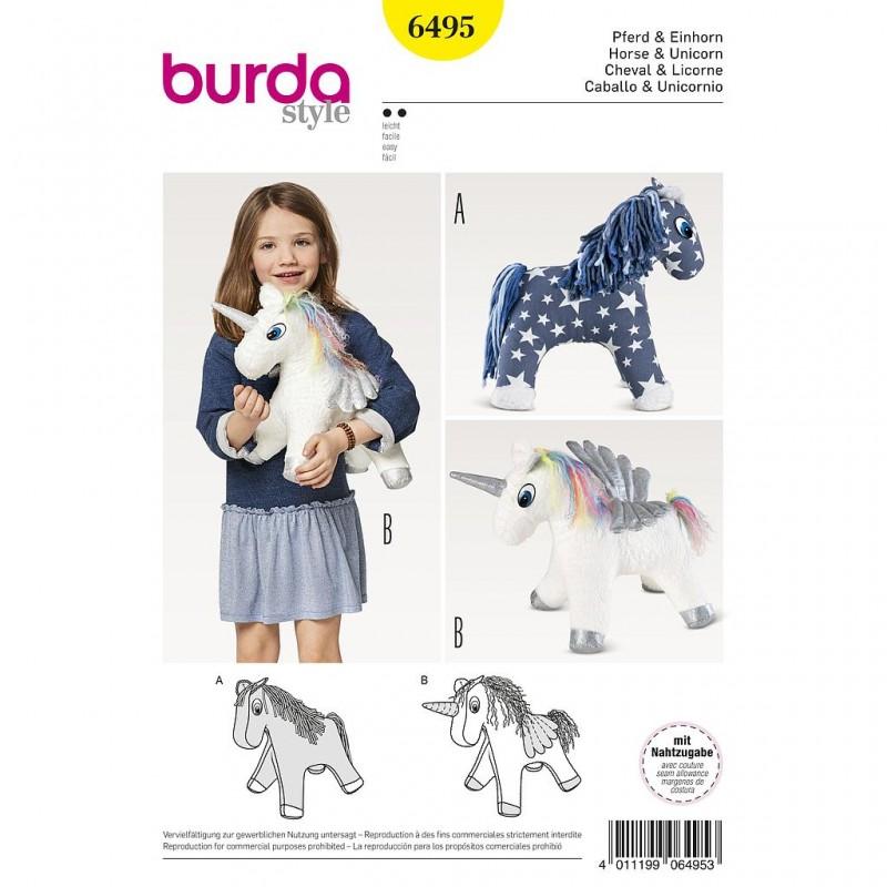 Patron Burda Style 6495 Peluche Cheval Licorne