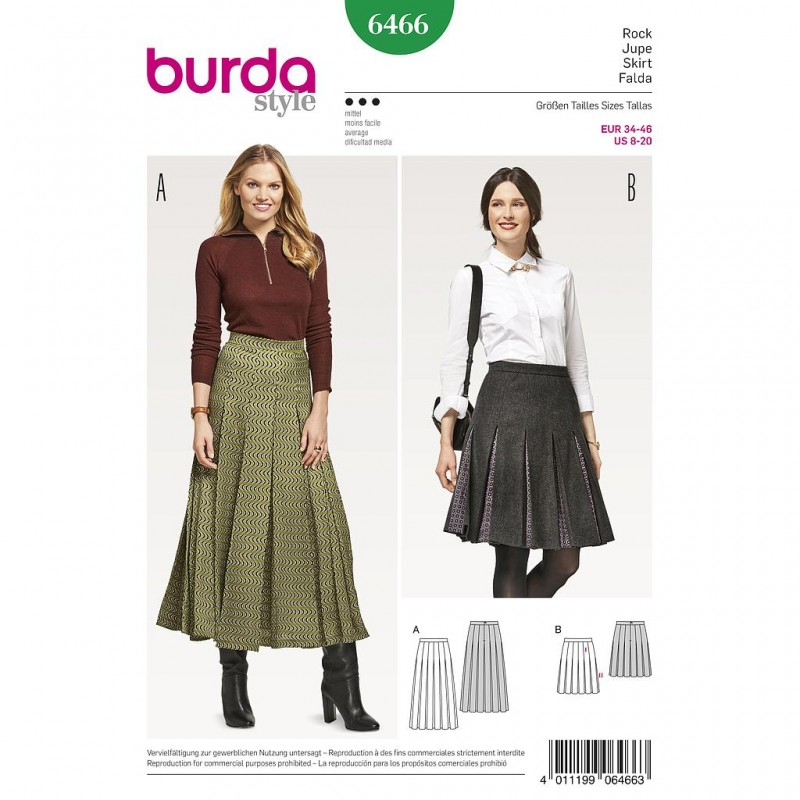 Patron Burda Style 6466 Jupe