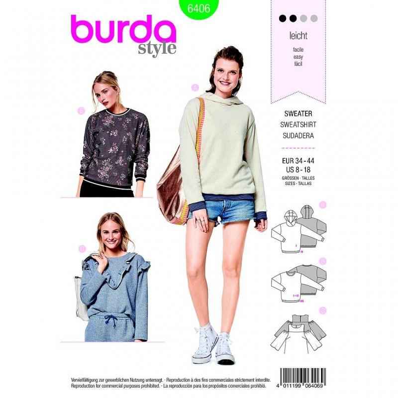 Patron Burda Style 6406 Sweat Shirt Taille 34/44