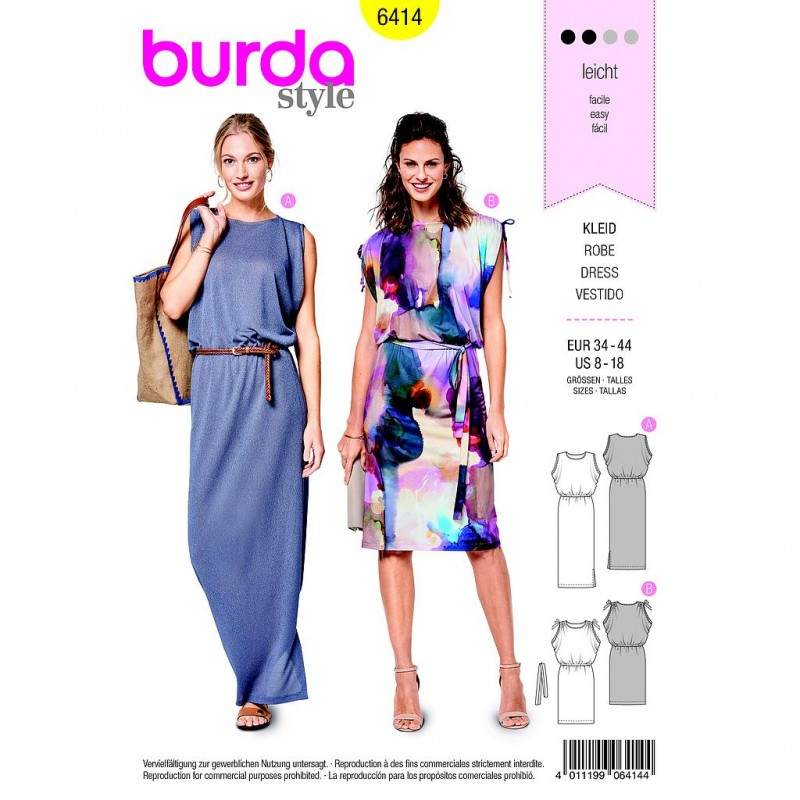 Patron Burda Style 6414 Robe Taille 34/44