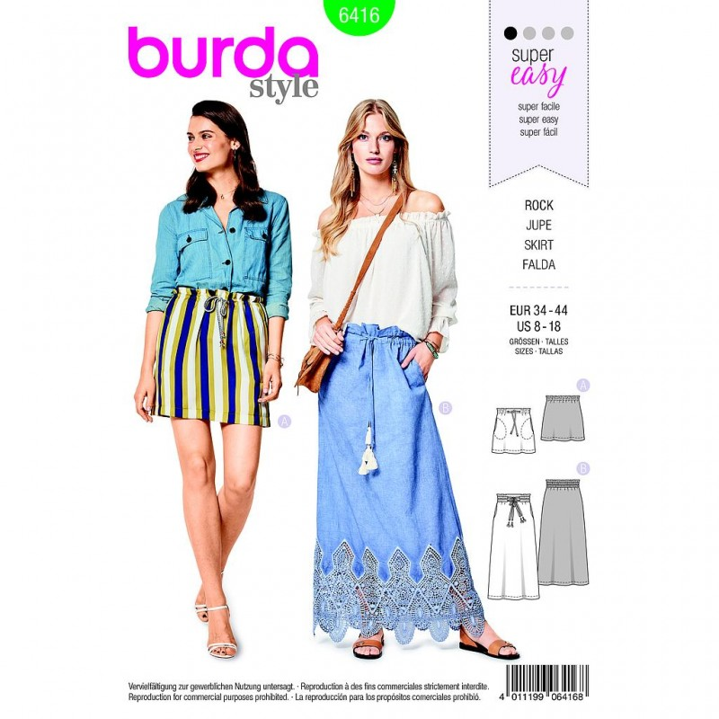 Patron Burda Style 6416 Jupe Taille 34/44