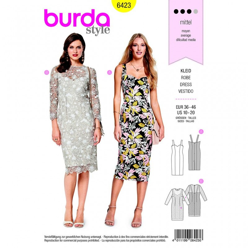 Patron Burda Style 6423 Robe Taille 36/46
