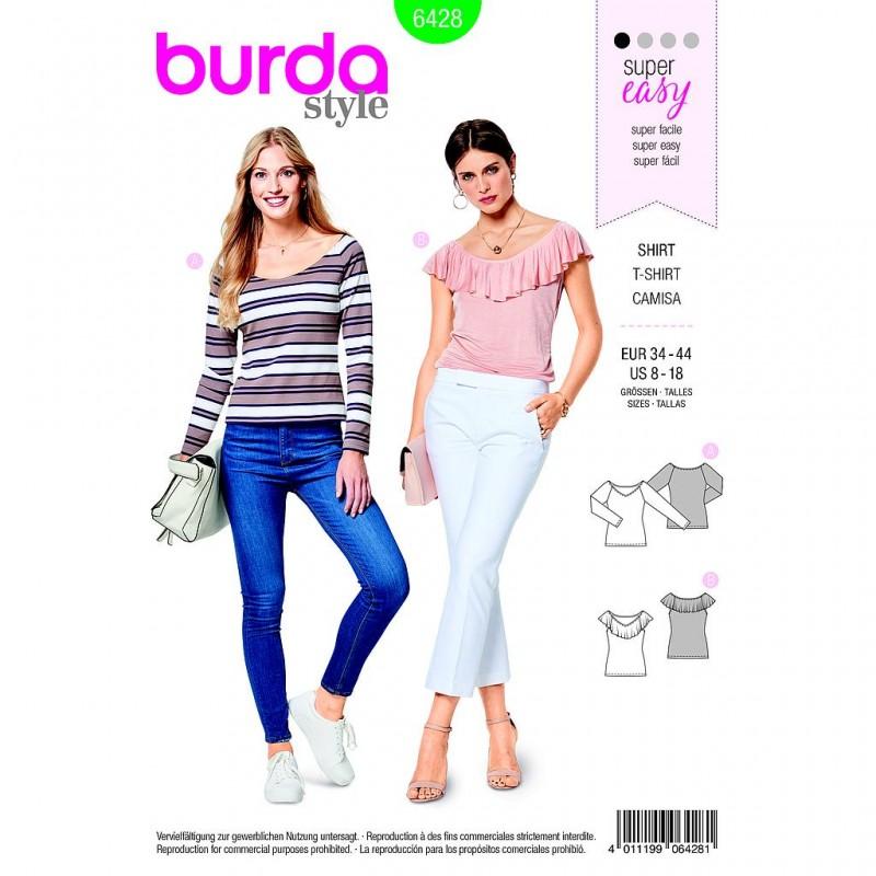 Patron Burda Style 6428 Tee Shirt Taille 34/44