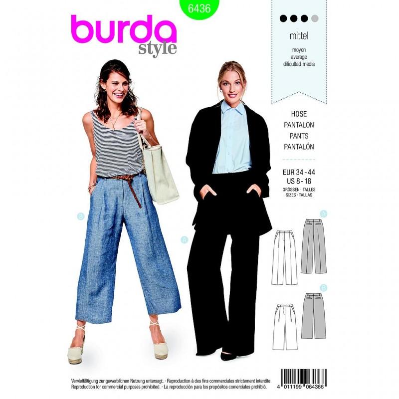 Patron Burda Style 6436 Pantalon Taille 34/44