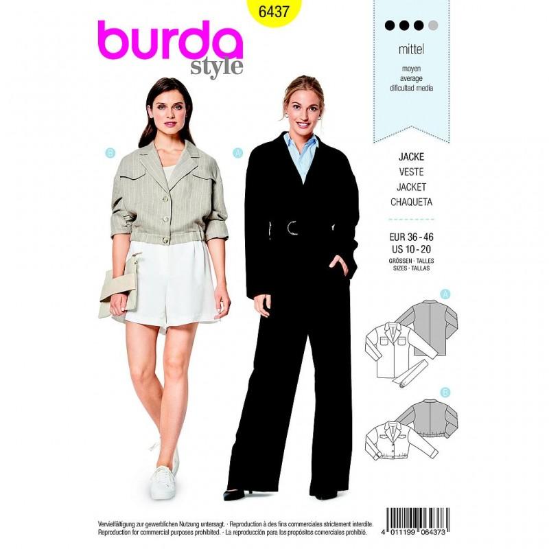 fe5a8c3c5 Patron Burda Style 6437 Veste Blouson Taille 36/46 - Tissus des Ursules