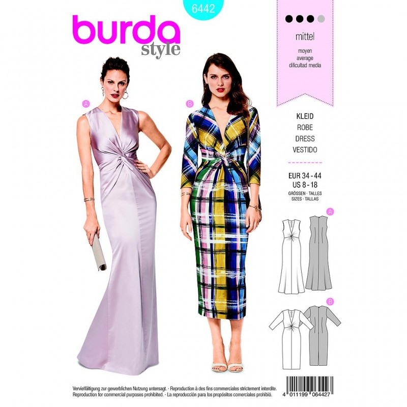 Patron Burda Style 6442 Robe Stretch Taille 34/44
