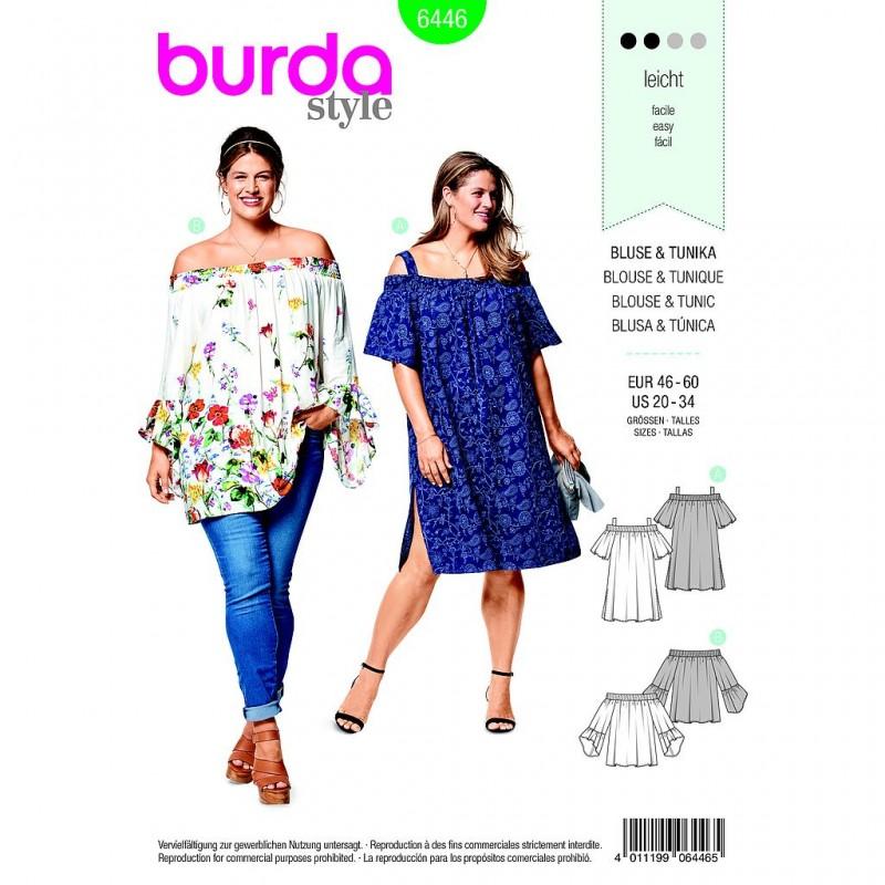 Patron Burda Style 6446 Blouse Tunique Taille 46/60