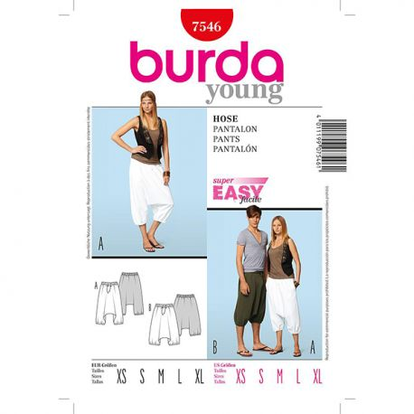 Patron Burda Style 7546 Pantalon Sarouel 32/50 44/56
