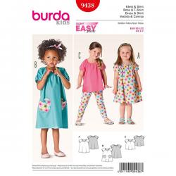 Patron Burda Kids 9438 Robe et Tshirt 92/122