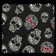 Tissu Simili Skulls Noir et Multico