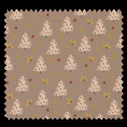 Tissu Coton de Noël Imprimé Sapin Fond Taupe Gris