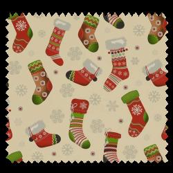 Tissu Coton de Noël Imprimé Chaussettes Fond Ecru
