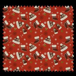 Tissu Coton de Noël Imprimé Bonnet Moufle Fond Rouge