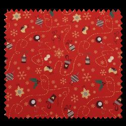 Tissu Coton de Noël Imprimé Boule Déco Fond Rouge