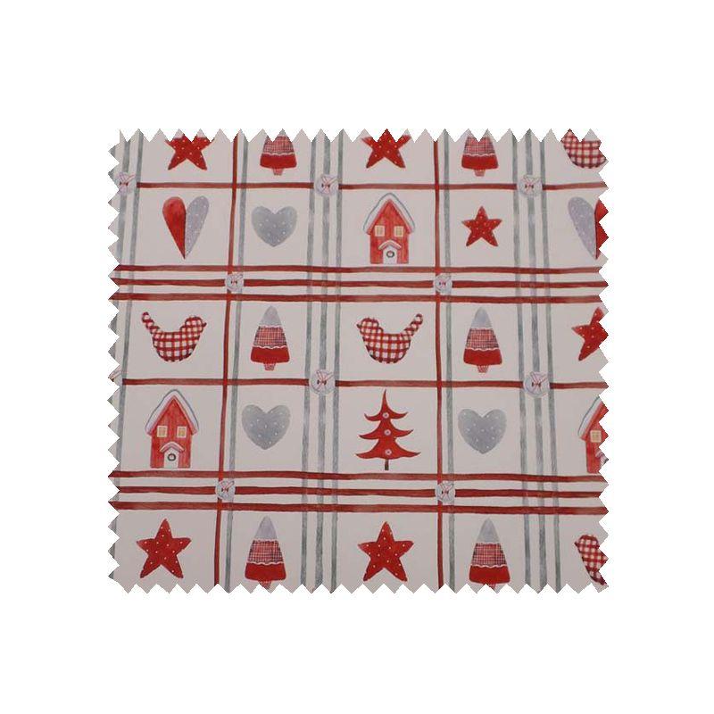 Tissu Coton de Noël Imprimé Patchwork Fond Blanc