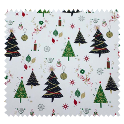Tissu Coton de Noël Imprimé Sapin Fond Blanc