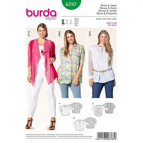 Patron Burda Style 6787 Blouse et Veste 44/60
