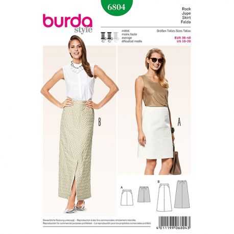 Patron Burda Style 6804 Jupe 36/46