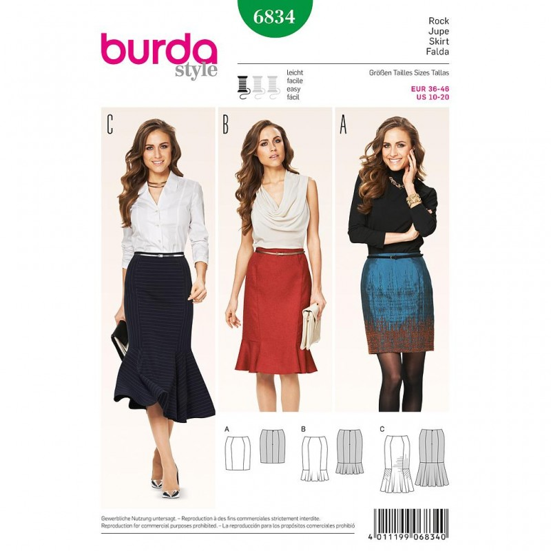 Patron Burda Style 6834 Jupe 36/46