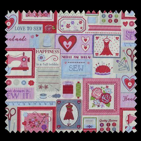 Tissu Boite à Couture Cretonne Ecru Rose