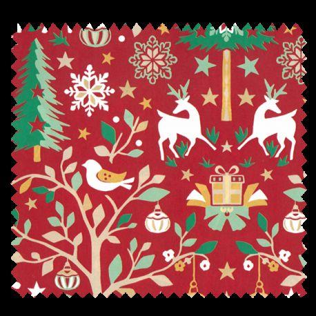 Tissu Laponie Imprimé Rouge Or