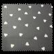 Tissu Cretonne Semis de Coeur Anthracite Blanc