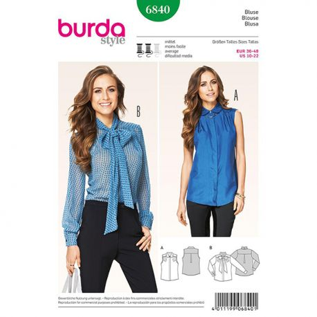 Patron Burda Style 6840 Blouse 36/48