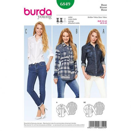 Patron Burda Style 6849 Chemisier 32/42