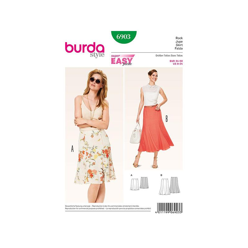 Patron Burda Style 6903 Jupe 34/50