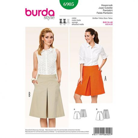 Patron Burda Style 6905 Jupe Culotte 34/48