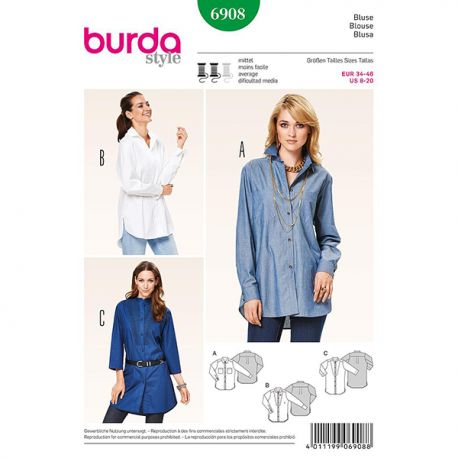 Patron Burda Style 6908 Blouse 34/46