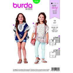 Patron Burda Kids 9340 Kids T-Shirt Poncho Taille 92/122CM