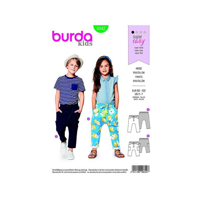 Patron Burda Kids 9342 Pantalon Taille 92/122CM