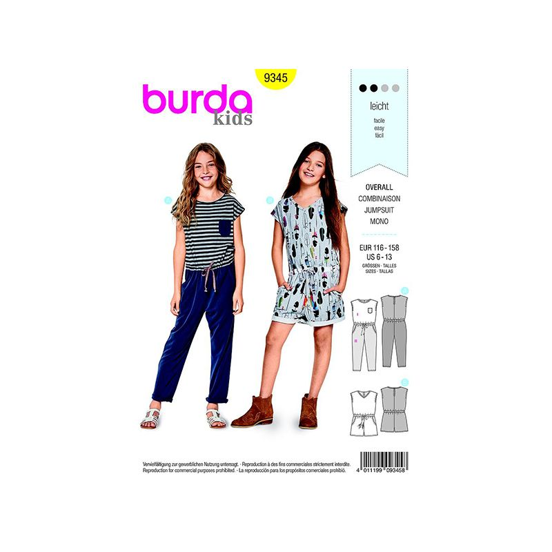 Patron Burda Kids 9345 Combinaison Taille 116/158CM