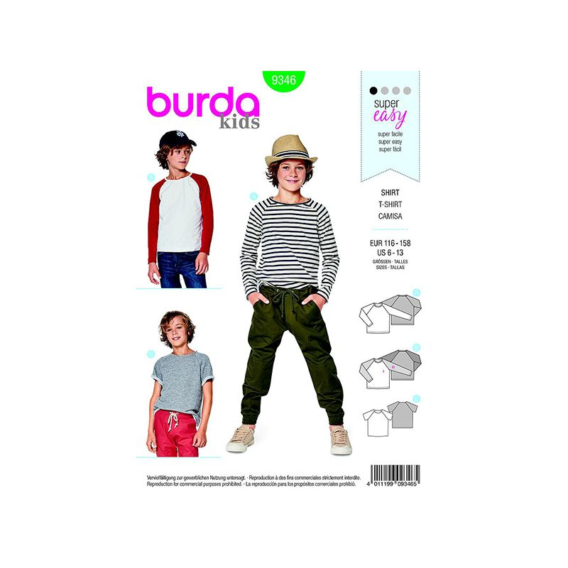 Patron Burda Kids 9346 Tee-Shirt Taille 116/158CM
