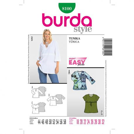 Patron Burda Style 8100 Tunique 44/58