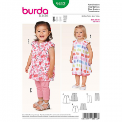 Patron Burda Kids 9412 Ensemble Fillette 68/98CM