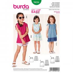 Patron Burda Kids 9416 Robe et Tshirt Fille 92/128CM