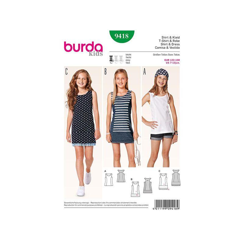 Patron Burda Kids 9418 Robe et Tunique 122/158CM