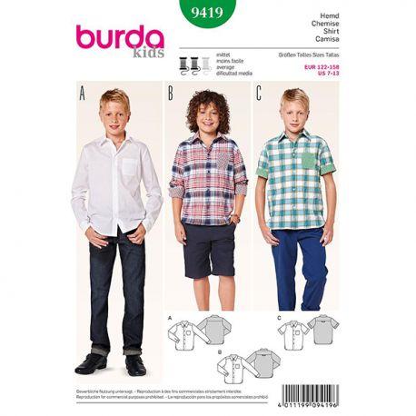 Patron Burda Kids 9419 Chemise 122/158CM
