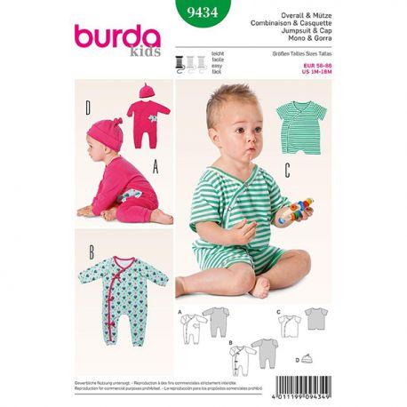 Patron Burda Kids 9434 Combinaison et casquette 56/86