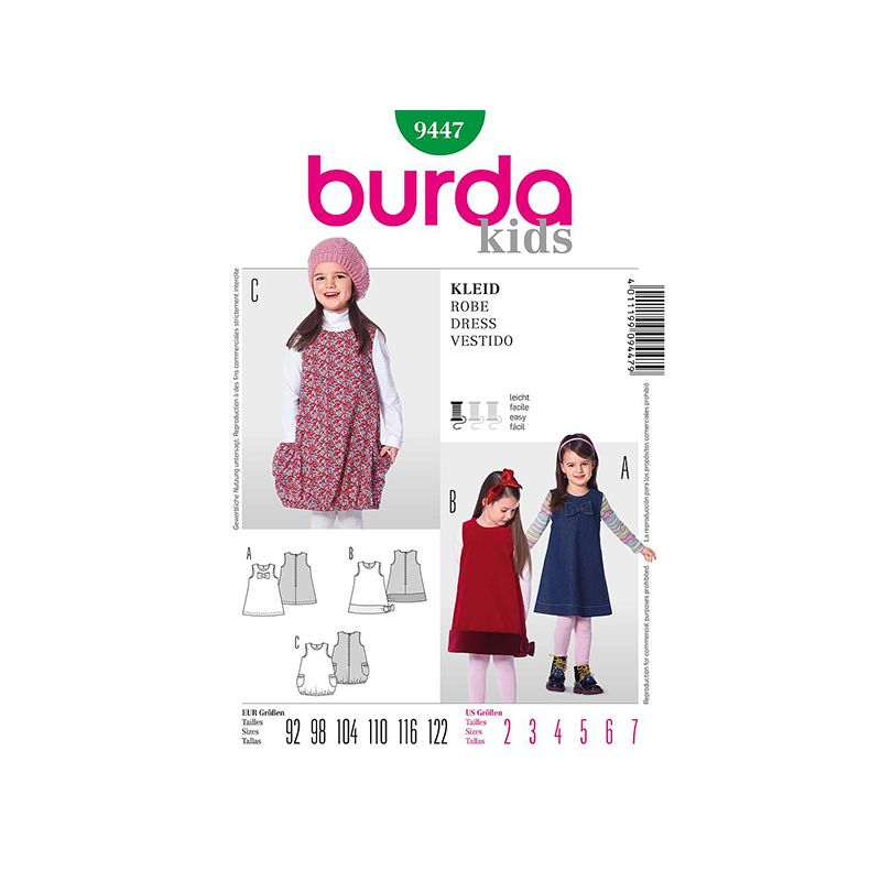 Patron Burda Kids 9447 Robe 92/122