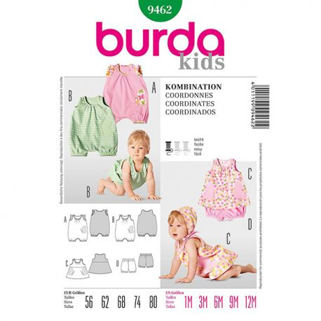Patron Burda Kids 9462 Ensemble bébé 56/80