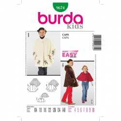 Patron Burda Kids 9674 Manteau Cape 104/140